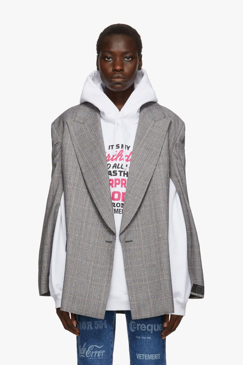 vetements surprise drop release ssense denim jacket bodysuit hoodies teddy bear bag pink demna gvasalia