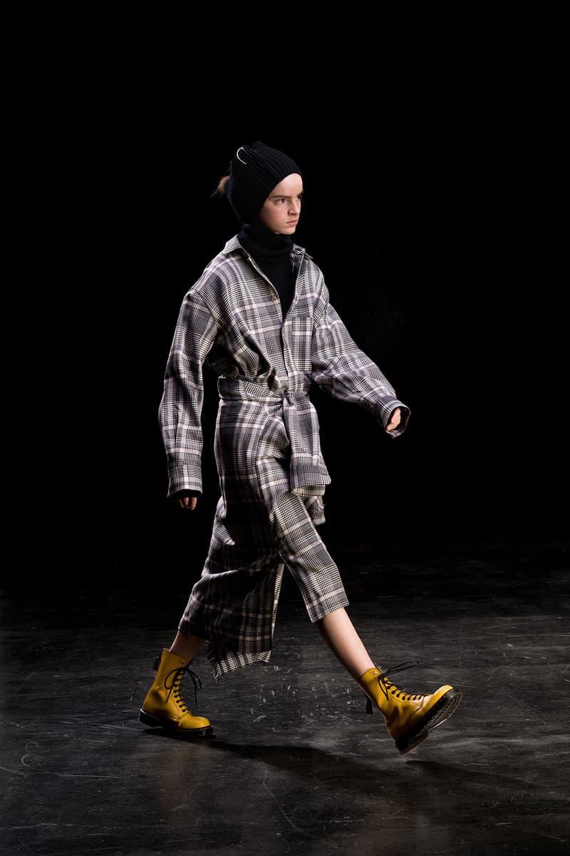 yohji yamamoto y's ys fall winter 2019 lookbook grey plaid coat