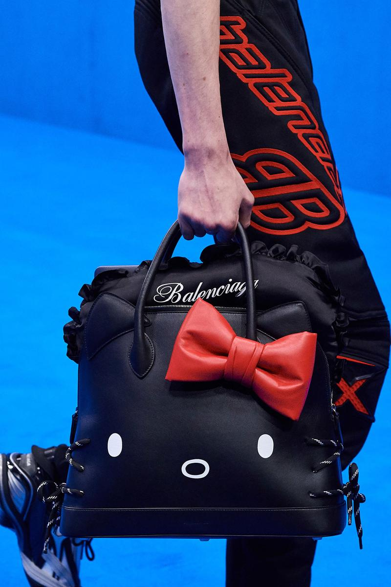 balenciaga spring summer 2020 paris fashion week pfw hello kitty bags men accessories white pink black designer