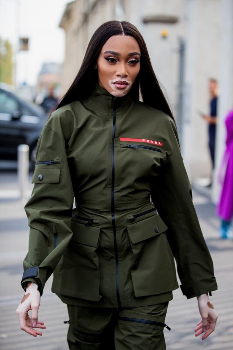 Winnie Harlow Prada Jacket Pants Green