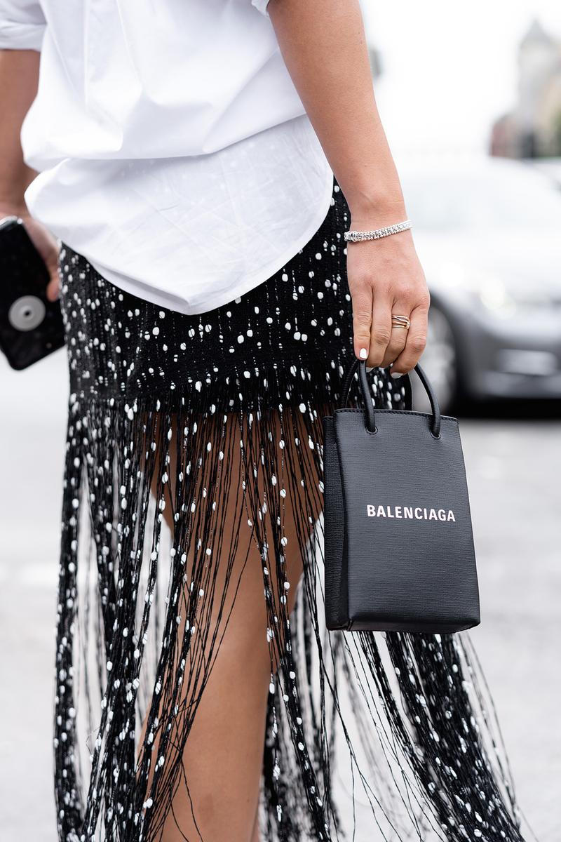Balenciaga Shopping Phone Holder Bag black logo