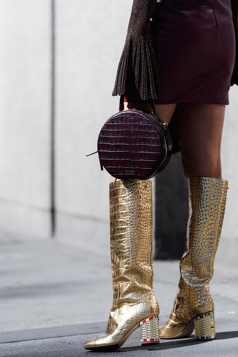 mansur gavriel croc burgundy circle bag gold boots aimee song