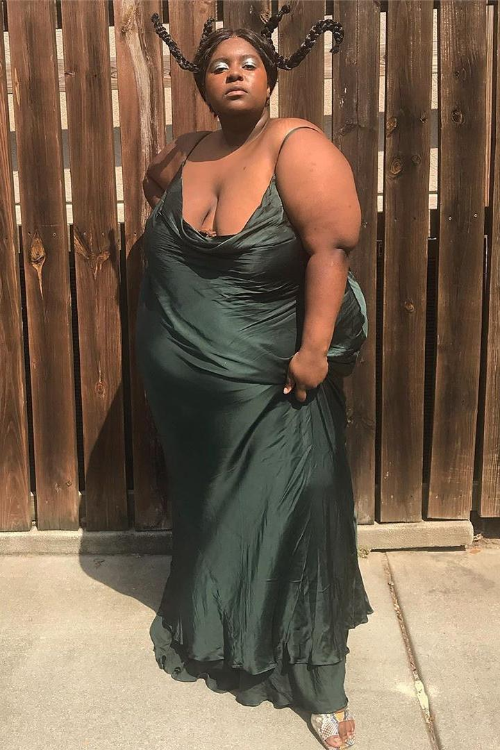 luhshawnay green metallic dress braids plus sized model body posivity inclusivity