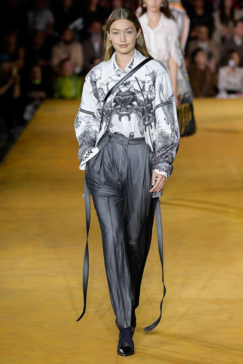 Burberry Riccardo Tisci Spring Summer 2020 London Fashion Week Gigi Hadid Jacket White Pants Grey