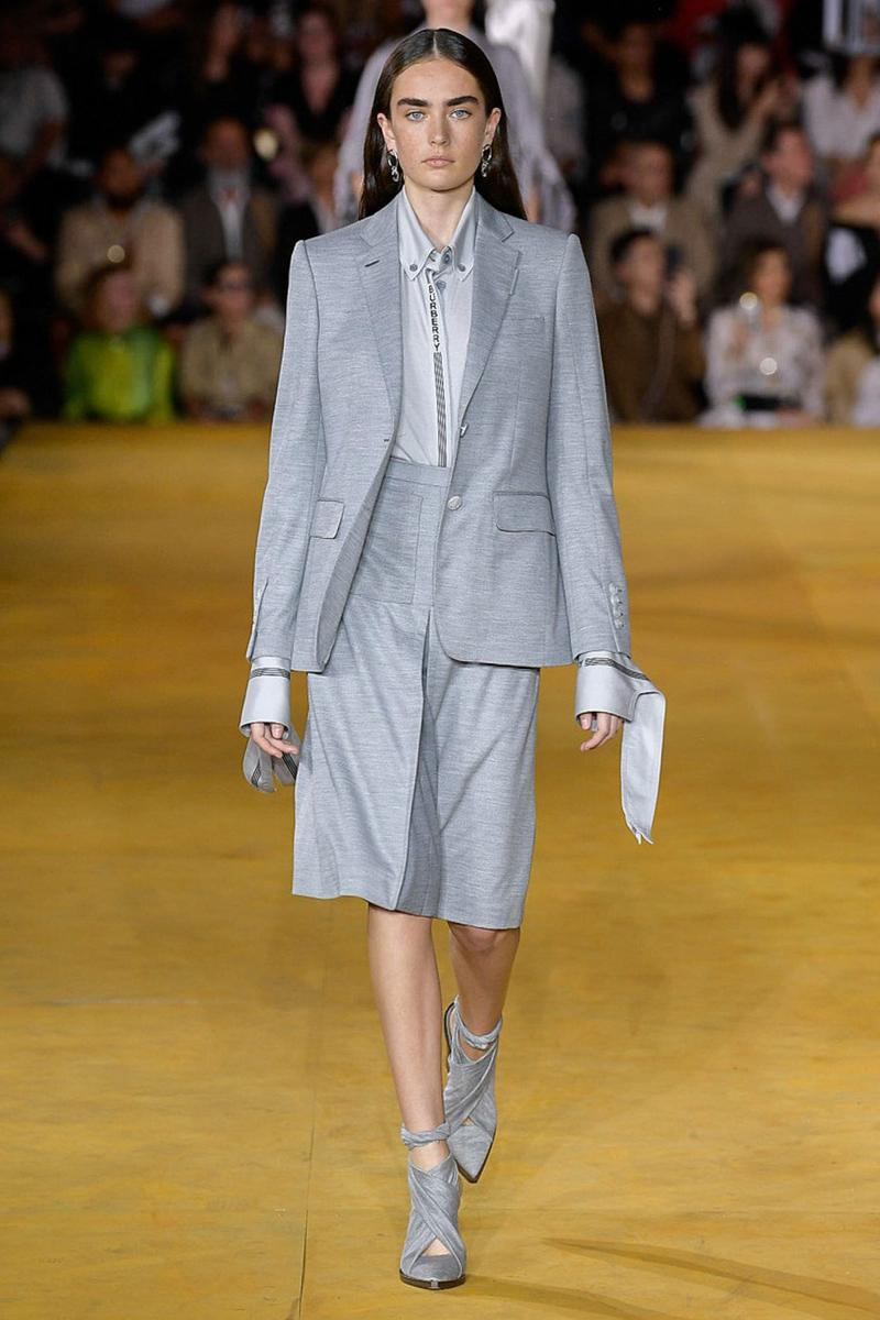 Burberry Riccardo Tisci Spring Summer 2020 London Fashion Week Suit Grey