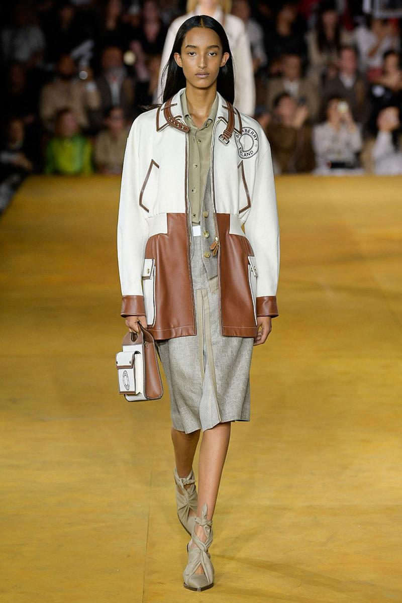 Burberry Riccardo Tisci Spring Summer 2020 London Fashion Week Jacket Cream Dress Tan