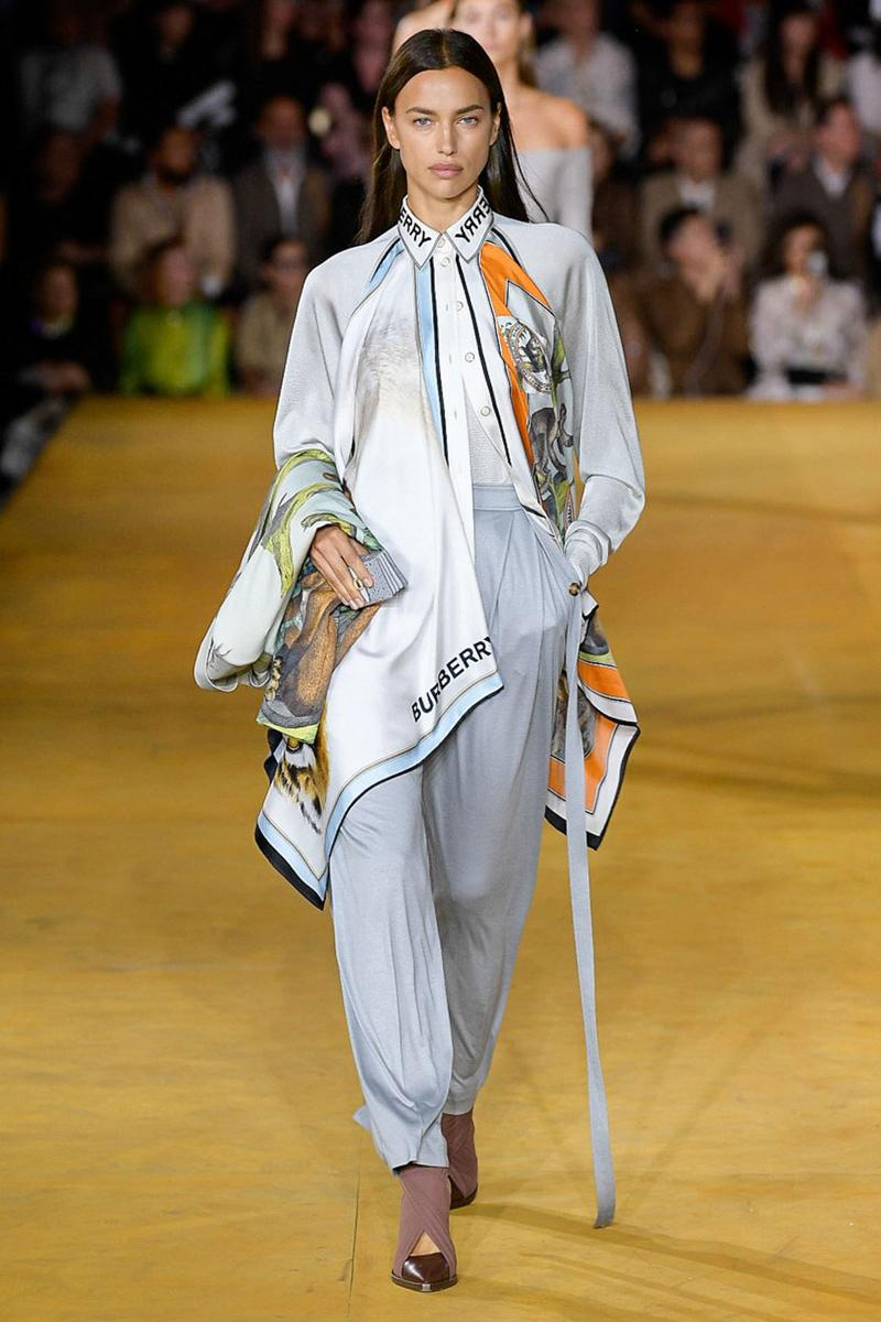 Burberry Riccardo Tisci Spring Summer 2020 London Fashion Week Scarf White Pants Grey