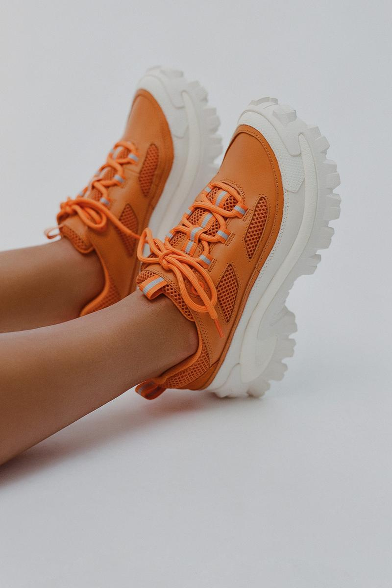 cat footwear axel arigato collaboration excelsior orange sneakers shoes