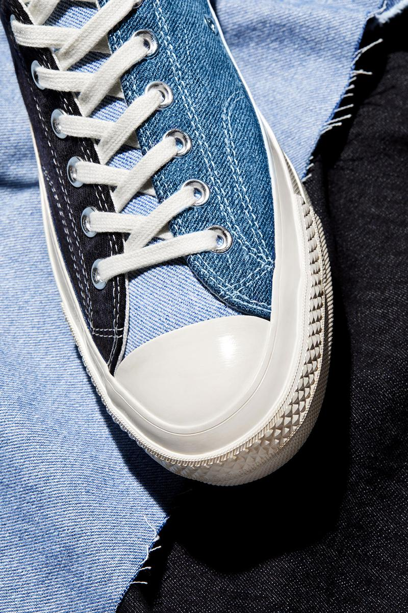 converse renew tri panel denim chuck 70 sneakers jeans sustainable fashion release date