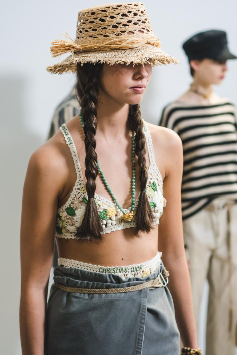 Dior Spring Summer 2020 Paris Fashion Week Collection Show Backstage Look Hat Tan Top Blue White