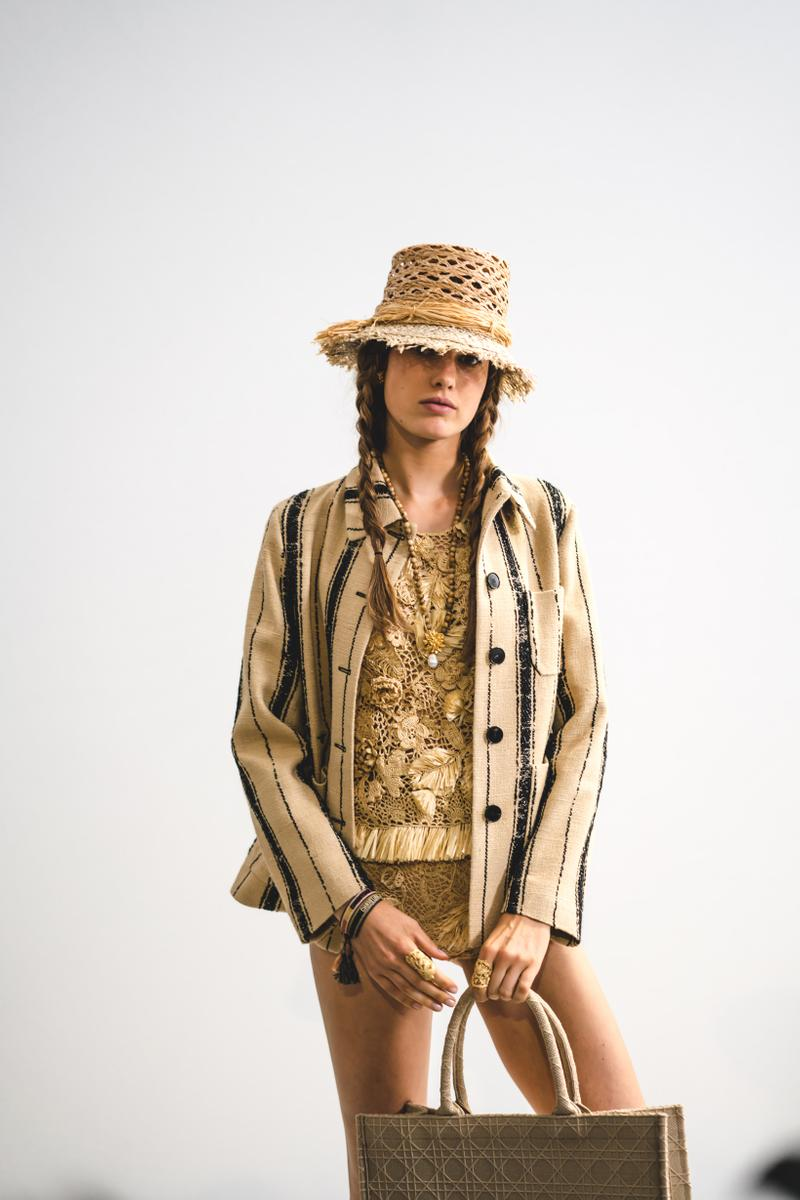 Dior Spring Summer 2020 Paris Fashion Week Collection Show Backstage Look Jacket Hat Bag Tan