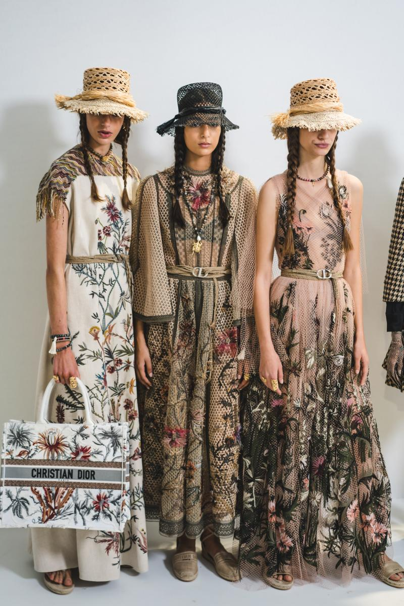 Dior Spring Summer 2020 Paris Fashion Week Collection Show Backstage Look Floral Dresses White Cream White