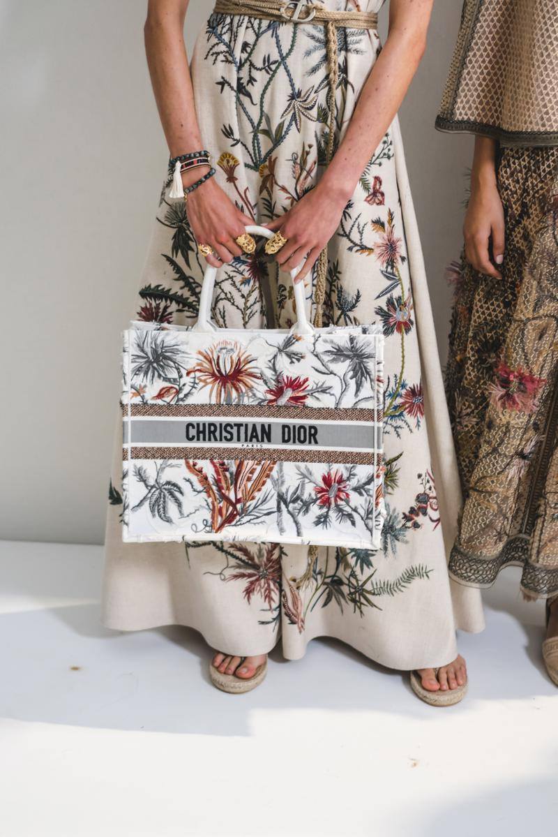 Dior Spring Summer 2020 Paris Fashion Week Collection Show Backstage Look Embroidered Bag White