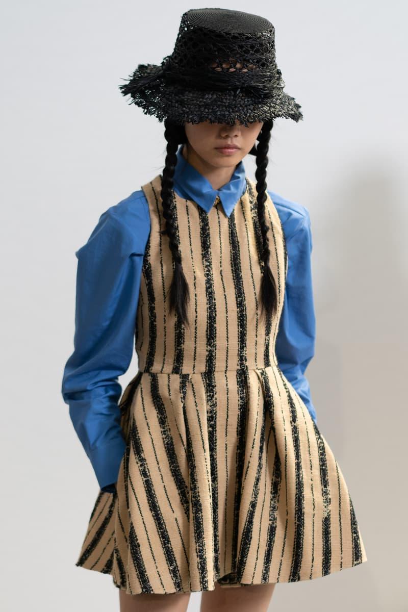Dior Spring Summer 2020 Paris Fashion Week Collection Show Backstage Look Dress Tan Shirt Blue Hat Black