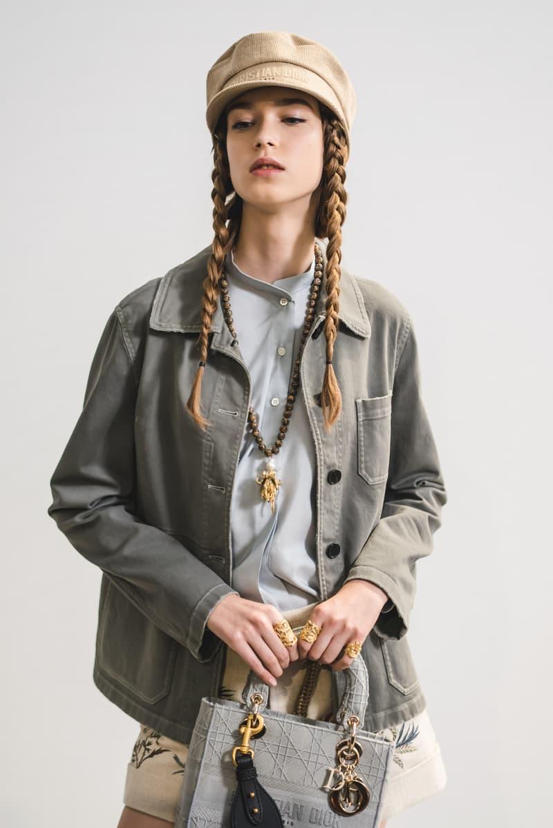 Dior Spring Summer 2020 Paris Fashion Week Collection Show Backstage Look Jacket Green Hat Tan