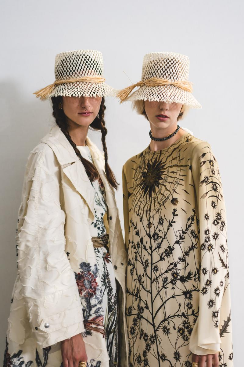 Dior Spring Summer 2020 Paris Fashion Week Collection Show Backstage Look Hats Tan Jacket White