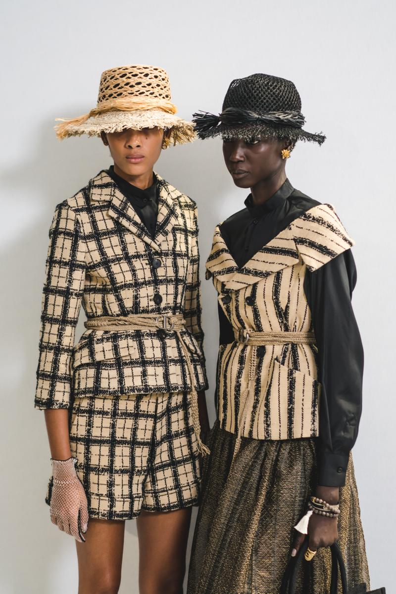 Dior Spring Summer 2020 Paris Fashion Week Collection Show Backstage Look Blazer Skirt Tan Black