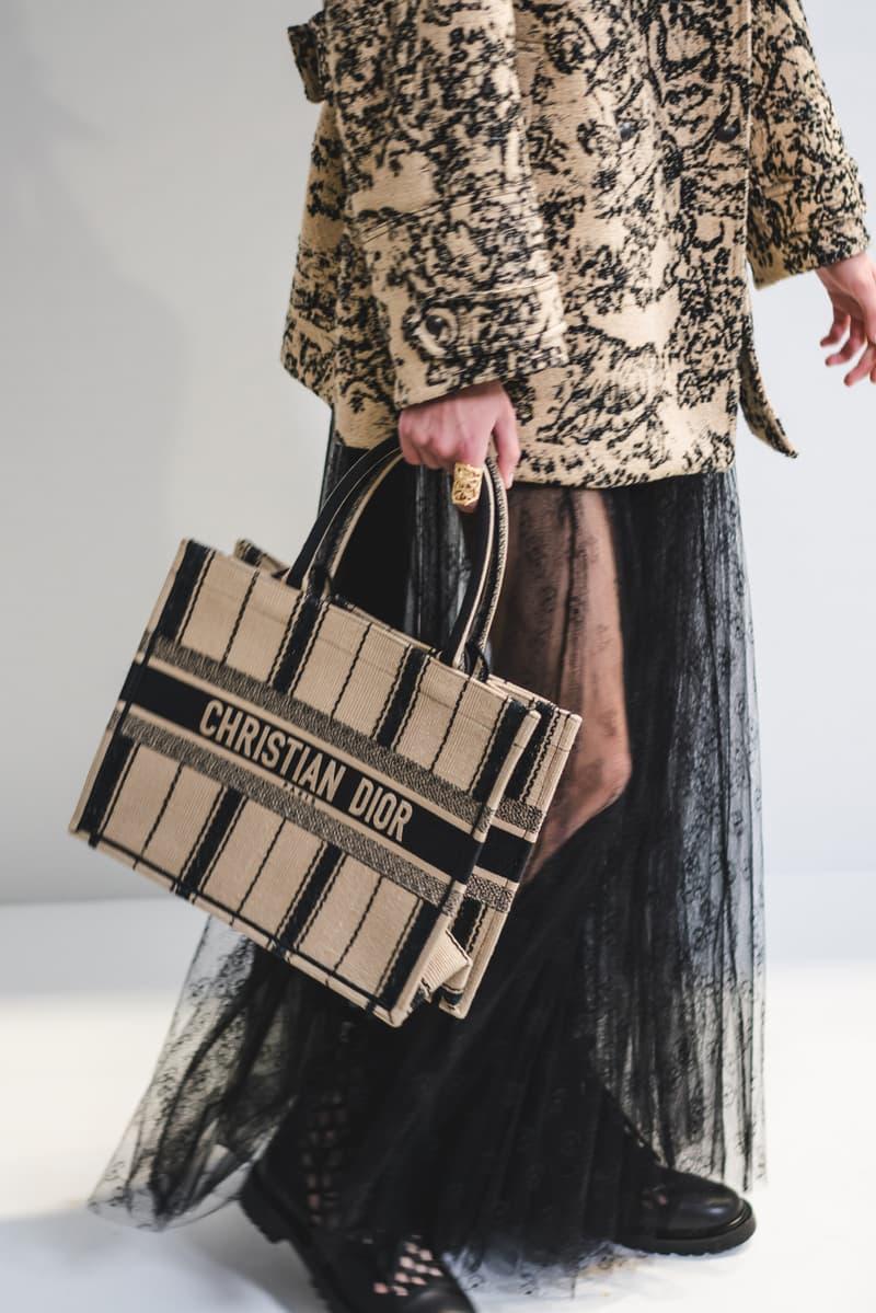 Dior Spring Summer 2020 Paris Fashion Week Collection Show Backstage Look Bag Tan Skirt Black