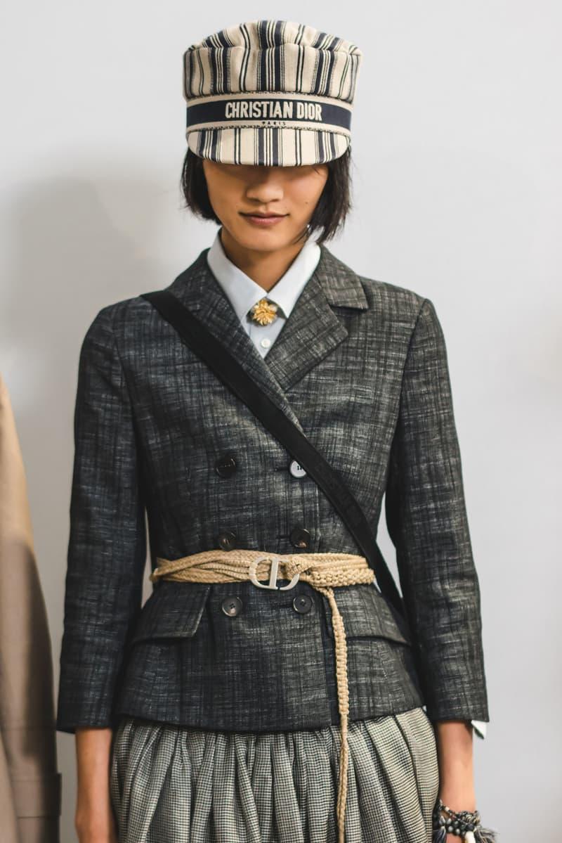 Dior Spring Summer 2020 Paris Fashion Week Collection Show Backstage Look Jacket Black Hat Tan