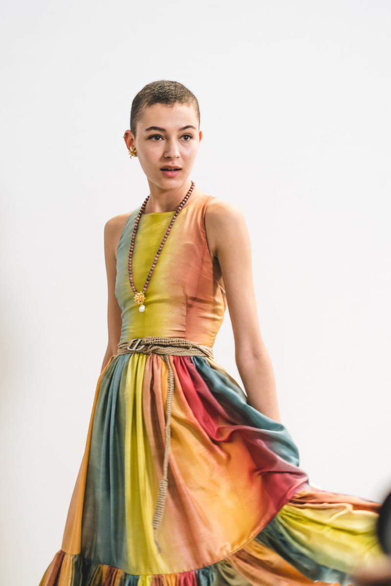 Dior Spring Summer 2020 Paris Fashion Week Collection Show Backstage Look Dress Yellow Red Blue