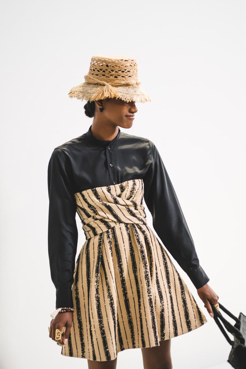 Dior Spring Summer 2020 Paris Fashion Week Collection Show Backstage Look Shirt Grey Dress Hat Tan