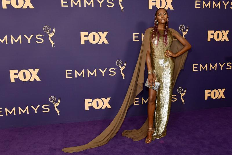 dominique jackson 71 emmy awards jeffrey dodd andrew gelwicks designer celebrity stylist fashion gown gold actress model transgender