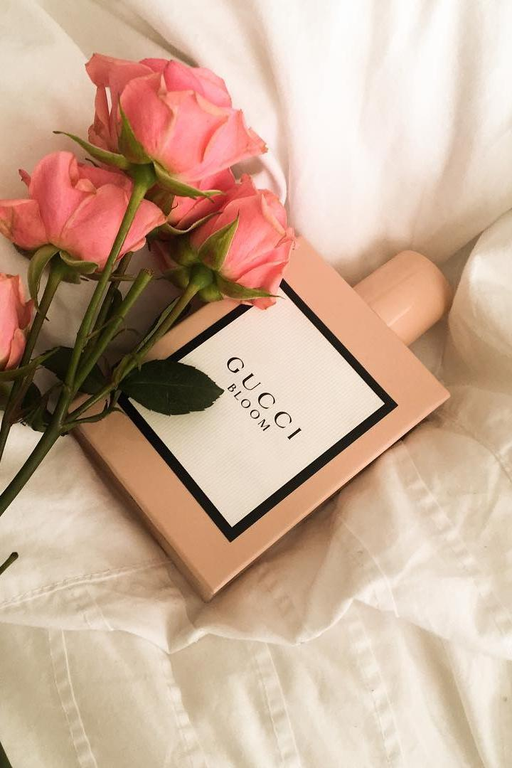 gucci beauty perfume roses flowers floral scent fragrance bed pink
