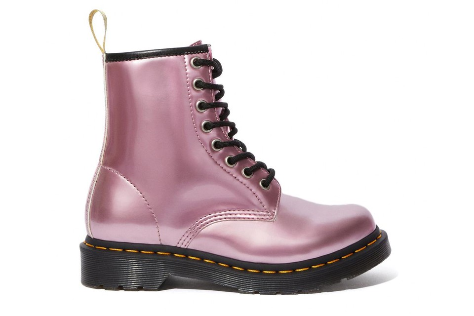Dr. Martens' Vegan Metallic Pink Boots Will Brighten up Your Fall