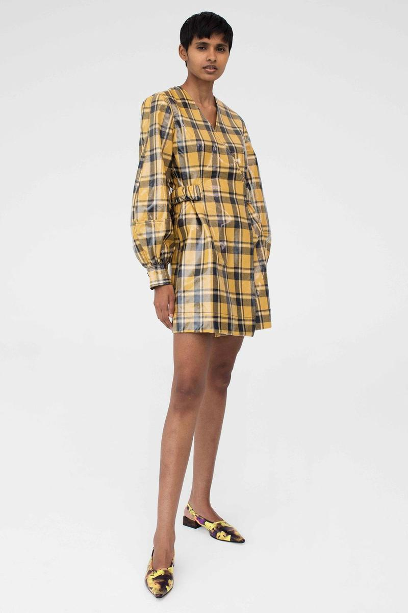 GANNI Pre-Spring 2020 Collection Lookbook Dress Yellow Grey