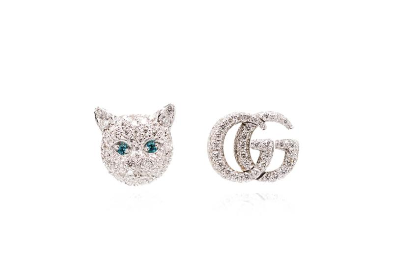Gucci Logo Earrings 18K White Gold Cat Head 10,000 USD Diamond Material Pearl TEal Gemstone Luxury Accessory