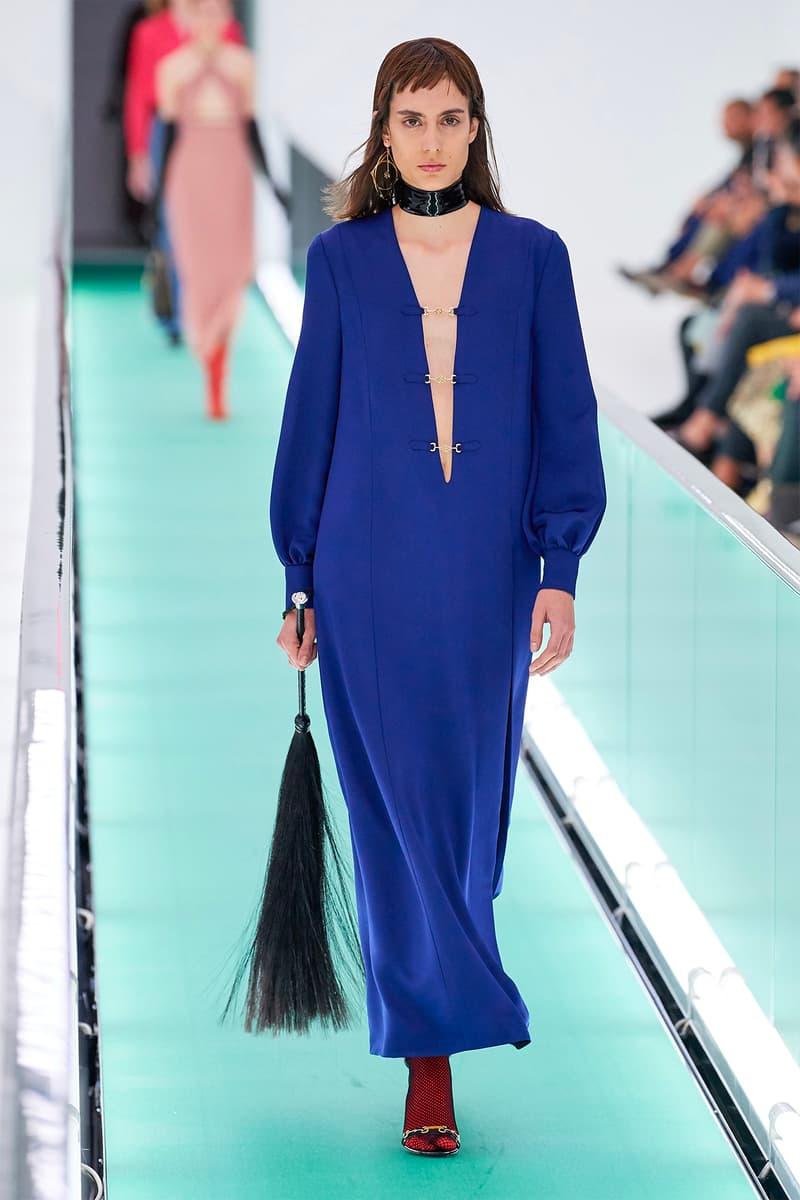 Gucci Orgasmique Spring Summer 2020 Runway Show Milan Fashion Week SS20 blue dress flogger whip