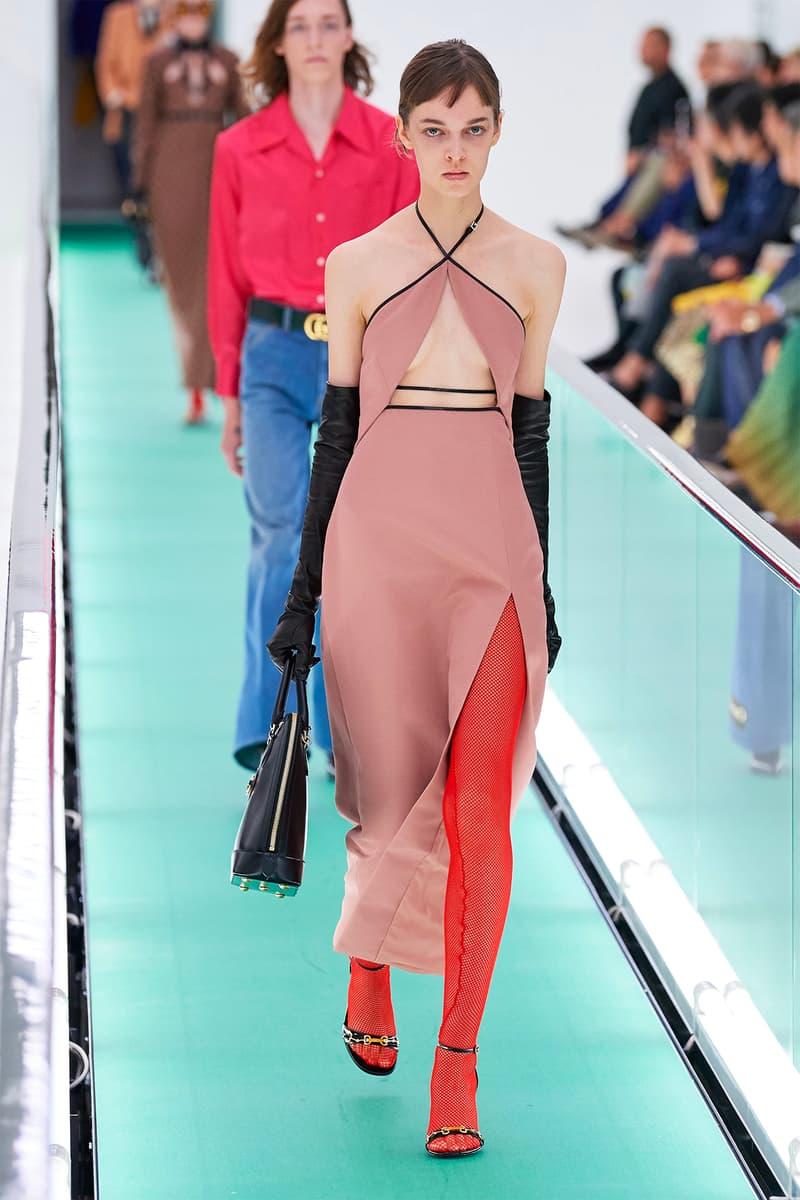 Gucci Orgasmique Spring Summer 2020 Runway Show Milan Fashion Week SS20 pink dress red tiights
