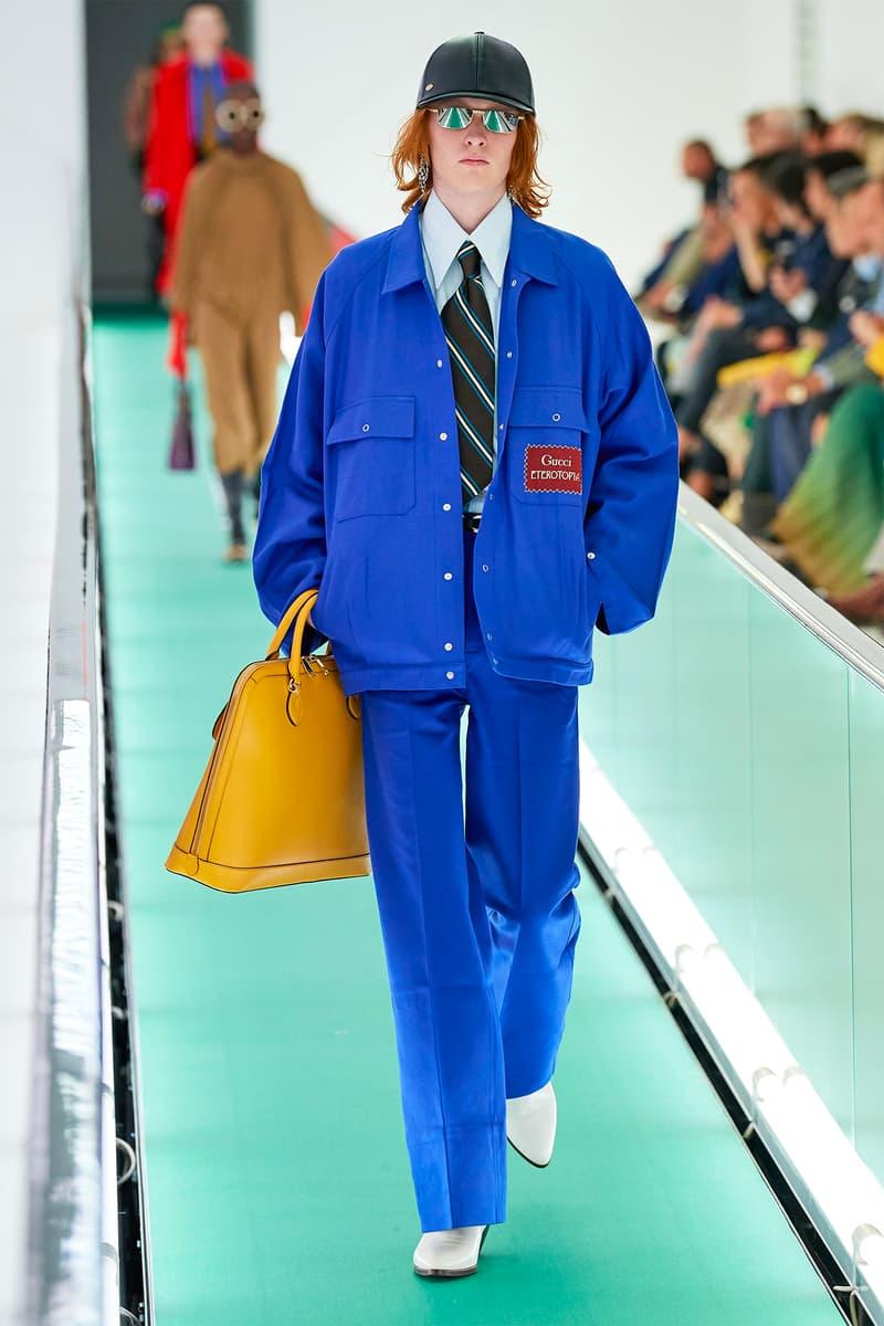 Gucci Orgasmique Spring Summer 2020 Runway Show Milan Fashion Week SS20 blue suit yellow bag