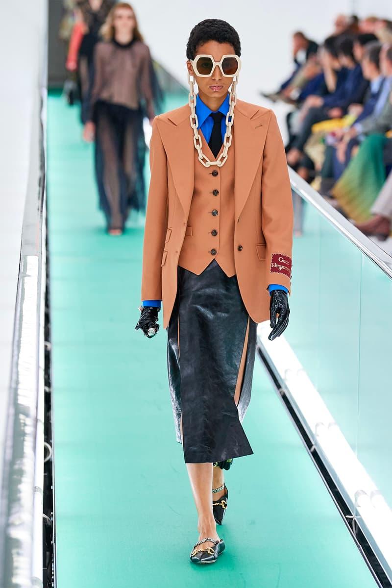 Gucci Orgasmique Spring Summer 2020 Runway Show Milan Fashion Week SS20 blazer skirt sunglasses chain
