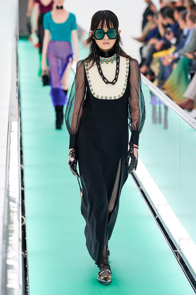 Gucci Orgasmique Spring Summer 2020 Runway Show Milan Fashion Week SS20 dress sunglasses chain