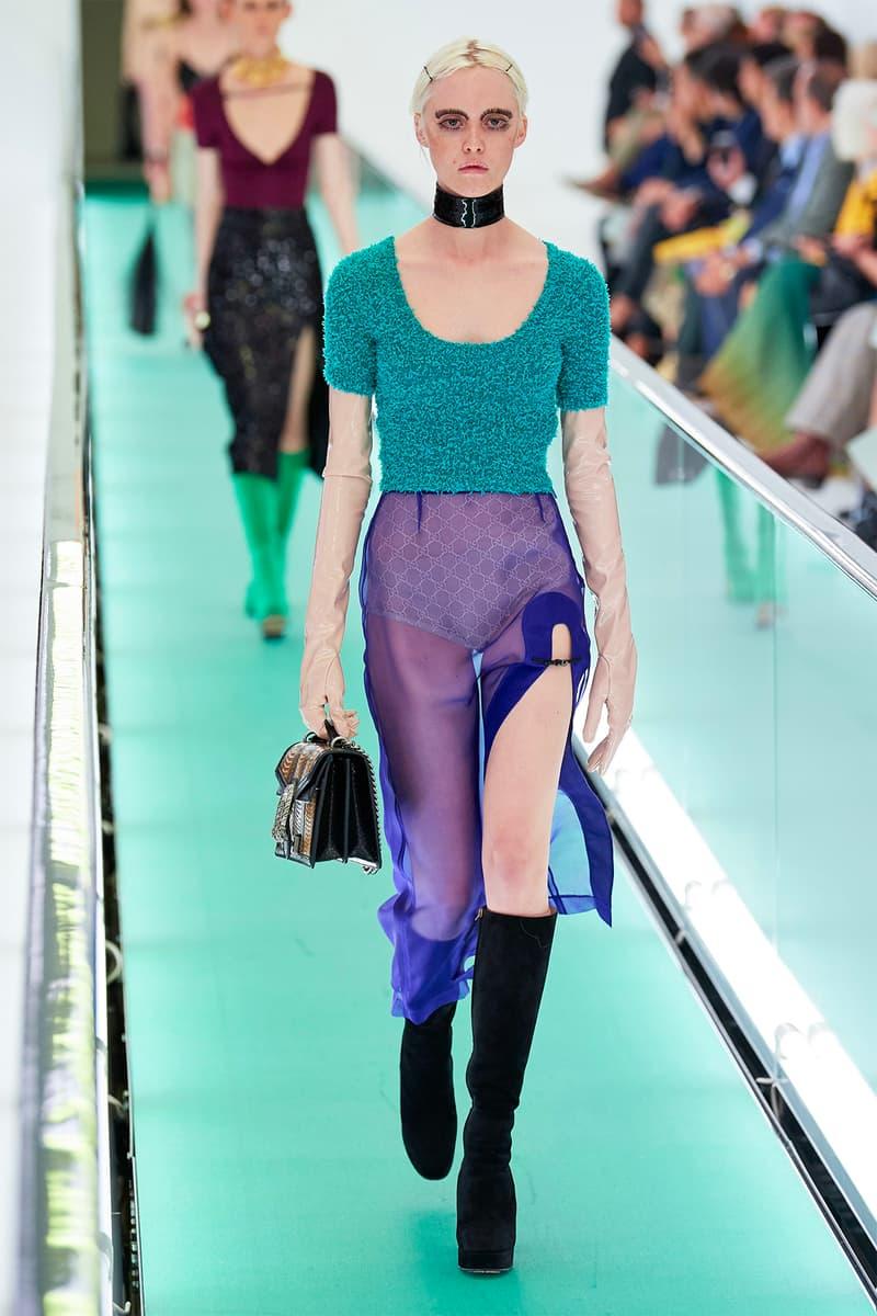 Gucci Orgasmique Spring Summer 2020 Runway Show Milan Fashion Week SS20 lace sheer dress panty underwear choker