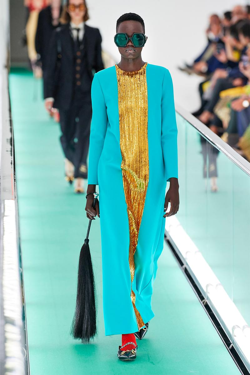 Gucci Orgasmique Spring Summer 2020 Runway Show Milan Fashion Week SS20 blue gold dress flogger whip