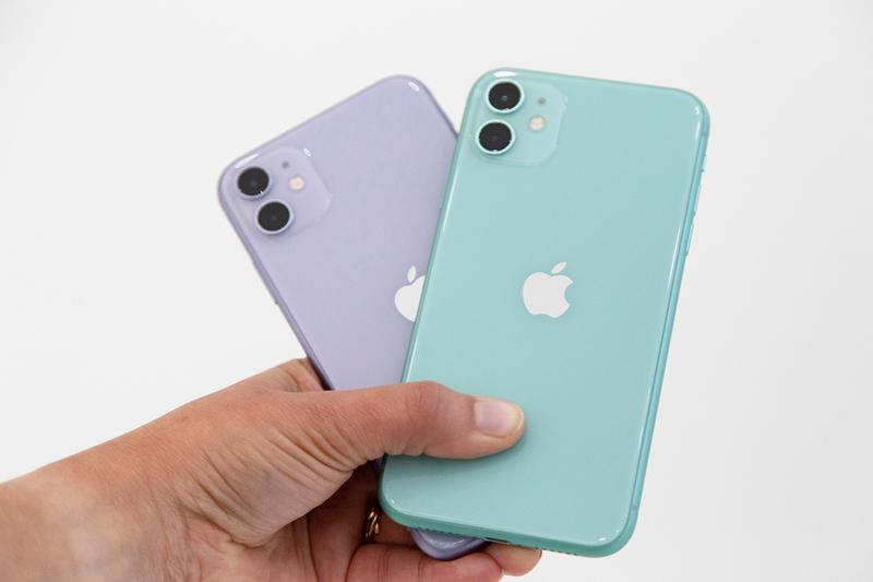apple iphone 11 purple green dual camera