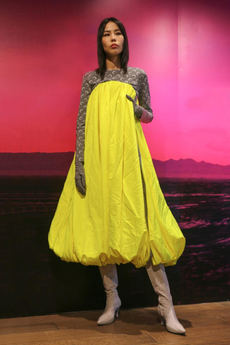 Joyce x Marine Serre Capsule Collection Hong Kong Dress Yellow Grey
