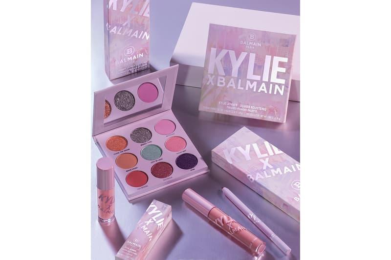 kylie jenner cosmetics balmain olivier rousteing paris fashion week pfw collaboration lipsticks lip gloss eyeshadows makeup beauty