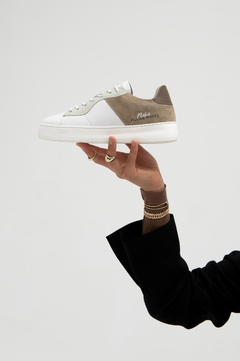 Maha Amsterdam x Filling Pieces Low Plain Court Sneaker White Brown
