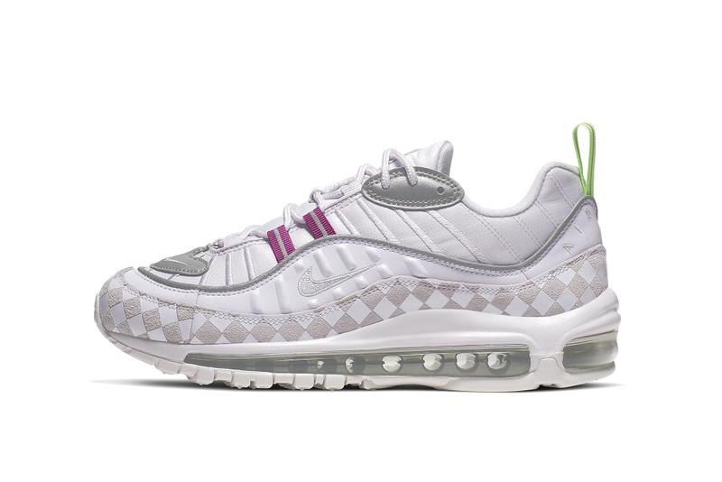 Nike Air Max 98 Pastel Pink Chequered Sneaker Pattern Neon Pink Green Sneaker Shoe Bubble Chunky Trainer Footwear