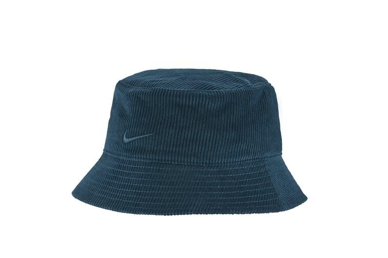 Nike Logo Bucket Hat Corduroy Black Blue Swoosh Fashion Trend Accessory Fall Cozy Girl Style