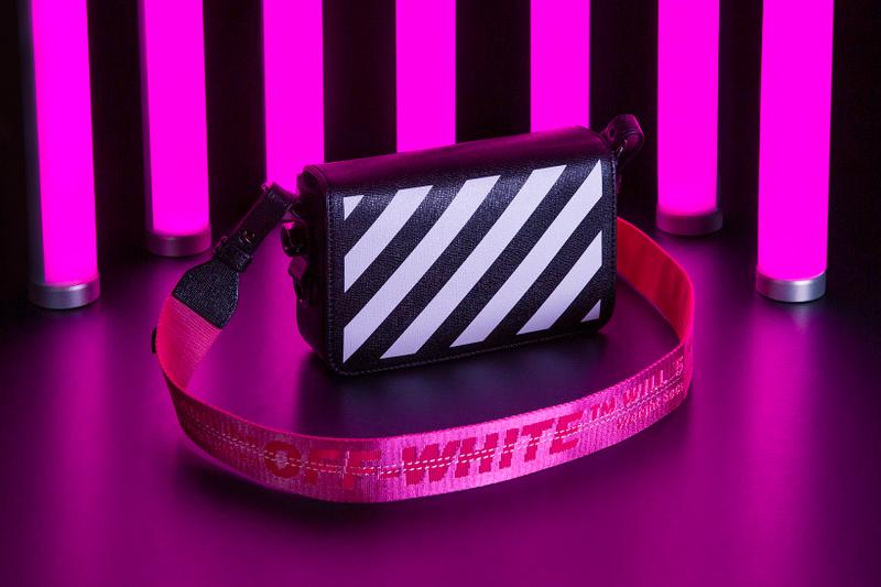 FLANNELS Off White Hot Pink Diagonal Stripe Bag  T-Shirt Industrial Belt