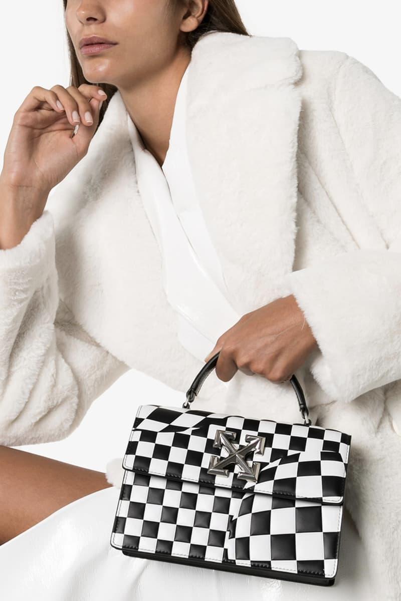 Off-White Logo Checkered Bag Black/White Purse Square Statement Luxury Virgil Abloh Design