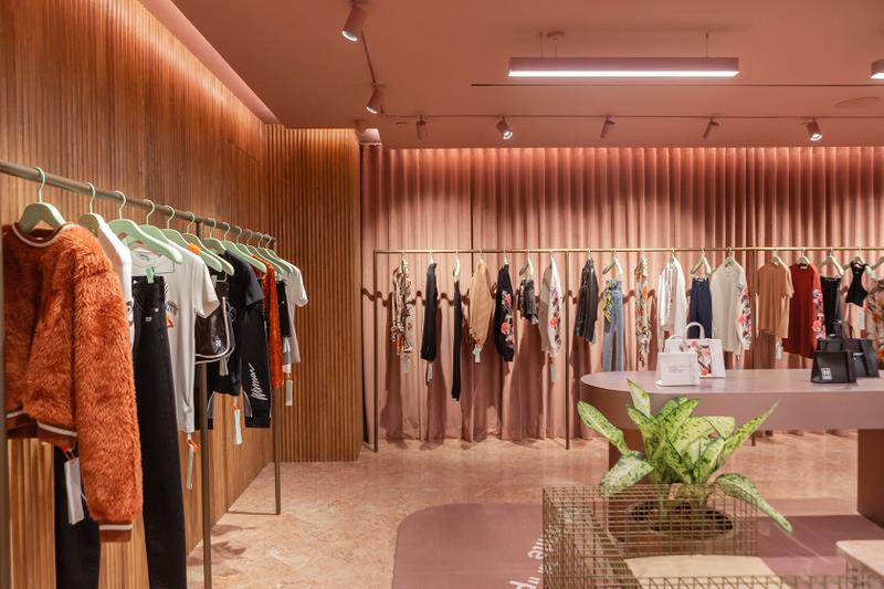 off white paragon concept store womens singapore shop opening pink marble clothes interior decor
