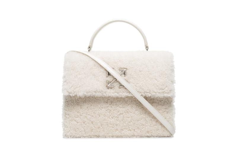 Off-White Logo Shearling Bag White Purse Virgil Abloh Luxury Designer Accessory
