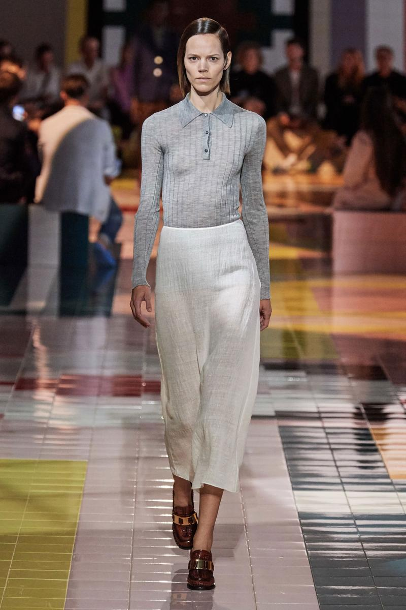 Prada Spring Summer 2020 Collection Milan Fashion Week Shirt Grey Skirt Tan