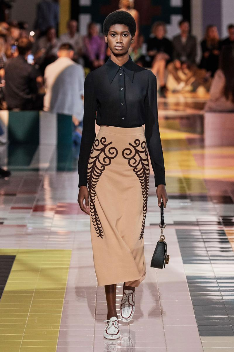 Prada Spring Summer 2020 Collection Milan Fashion Week Top Black Skirt Tan