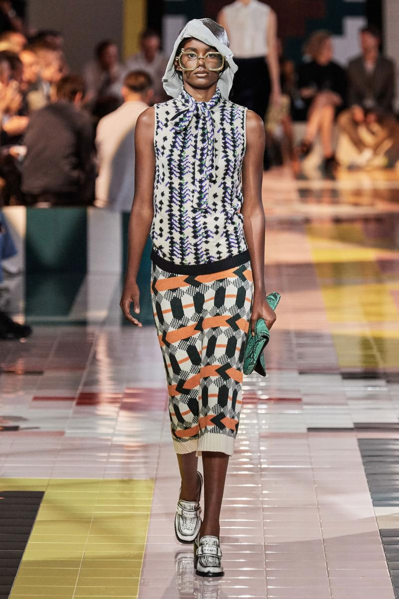Prada Spring Summer 2020 Collection Milan Fashion Week Hoodie Black White Skirt Orange Green